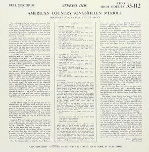Helen Merrill - American Country Songs - back sleeve