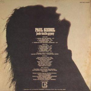 Paul Siebel - Jack Knife Gypsy - back